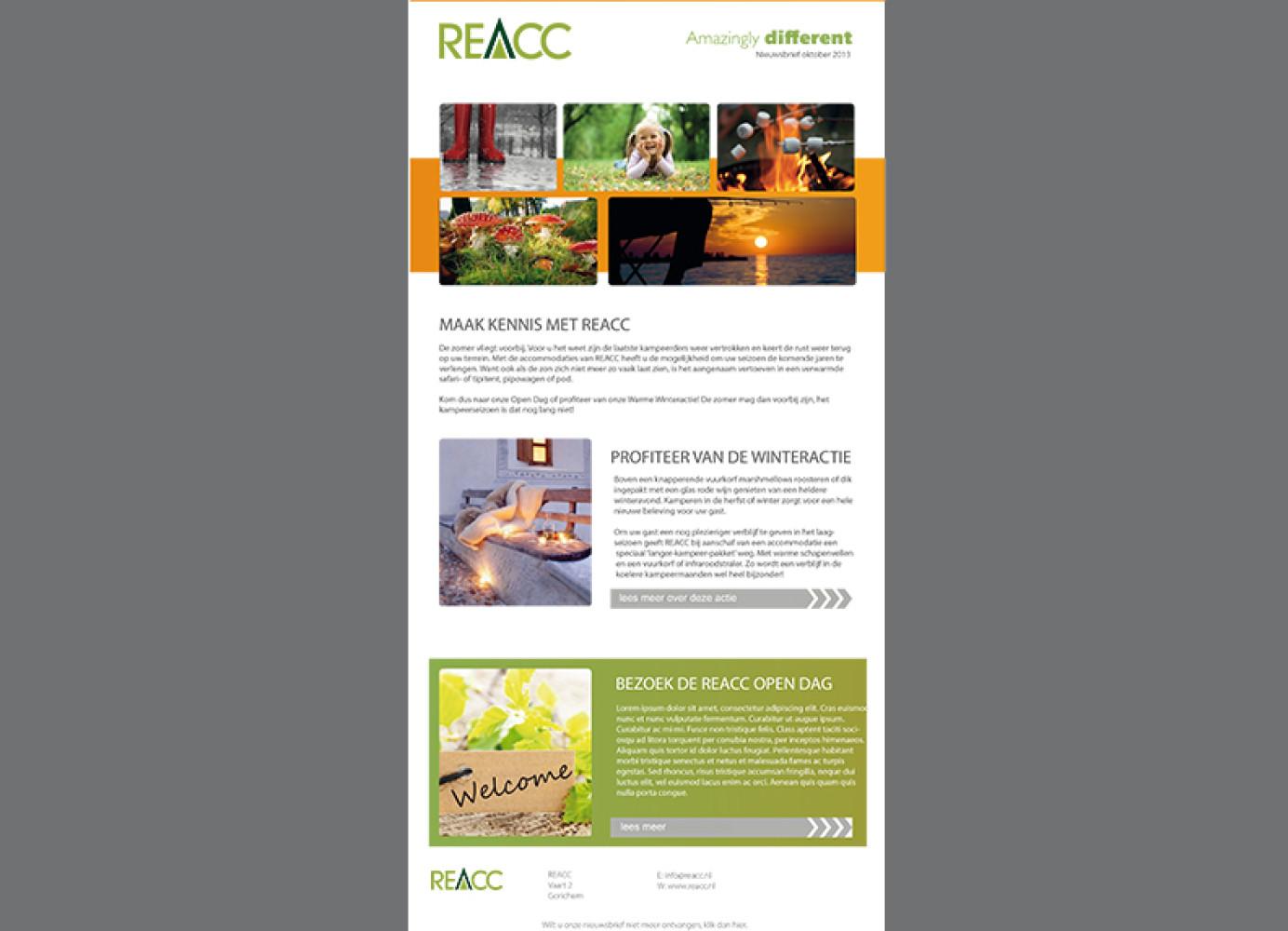 De layout voor de digitale nieuwsbrief van REACC